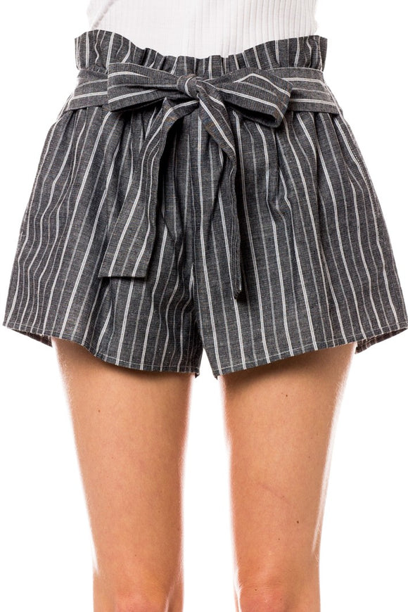Front Tie Striped Shorts