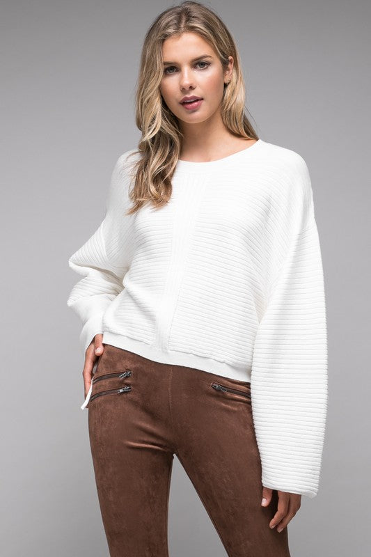Tie Sleeve Cropped Sweater
