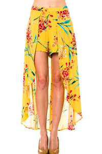 Yellow Floral Print Shorts with Side Skirt