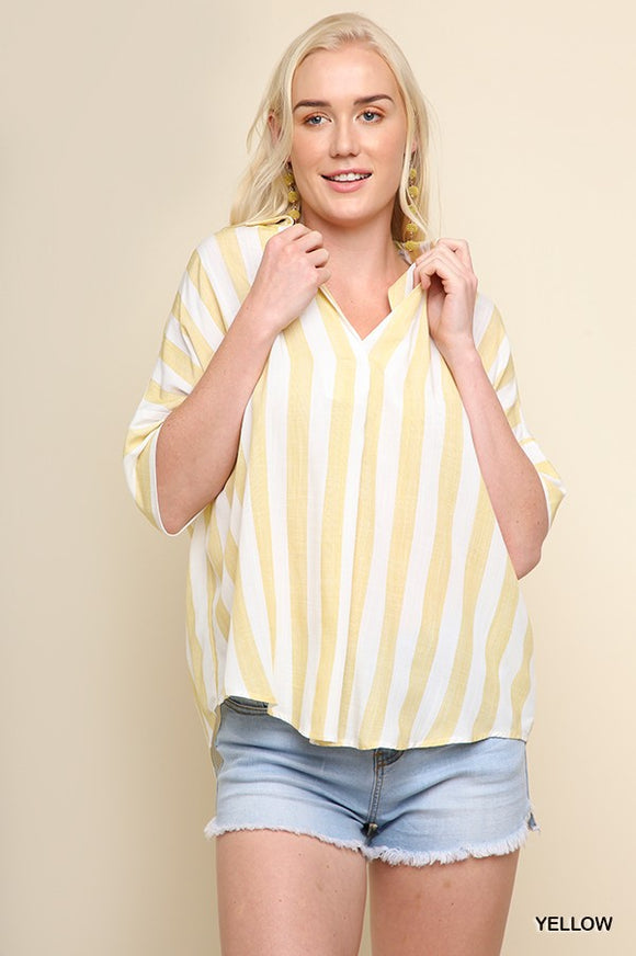 Yellow Stripe Elbow Sleeve Top