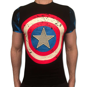 Captain America Embossed Shield tshirt shirt t-shirt tee - SugarCane1977