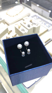 Freshwater Cultured Pearl Front Back Stud Earrings