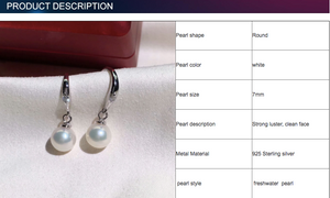 925 sterling silver 7mm round hanging freshwater pearl chandelier earring