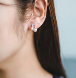 2018 fashion design 925 sterling silver cz Musical notes shape round pearl stud earring