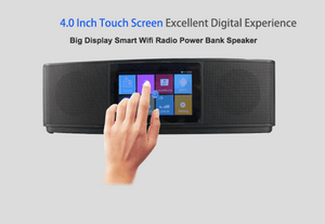 Wireless  Power Bank Music Wifi Radio Speaker 2017, Android NFC Hifi Touch Screen Portable Smart Speaker with Lcd Screen