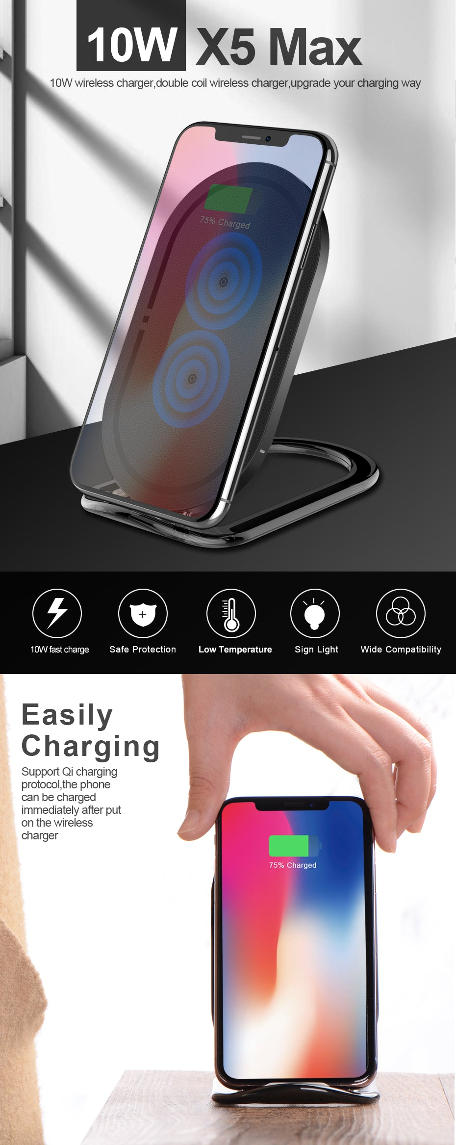 Wireless Charger For Samsung Galaxy S8 S7 Edge Note 8 ,For iPhone X 8 8 Plus