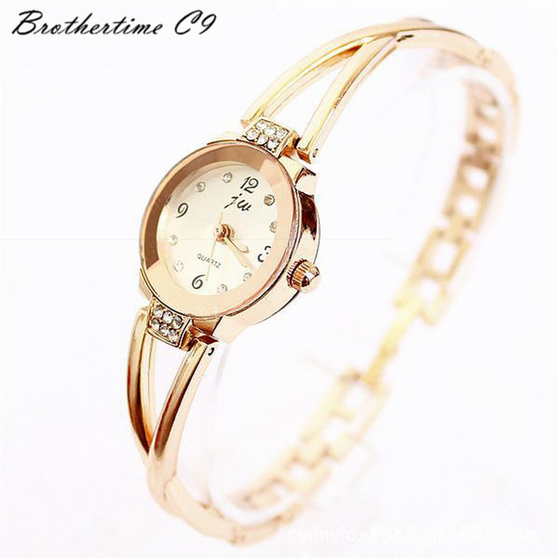 Rose Gold Plated Alloy Rhinestone Dial Bracelet Watches