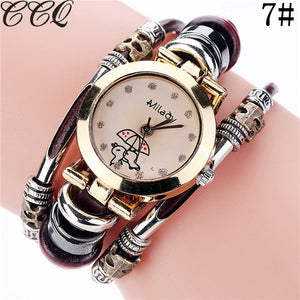 Brand Fashion Vintage Cow Leather Bracelet Watches