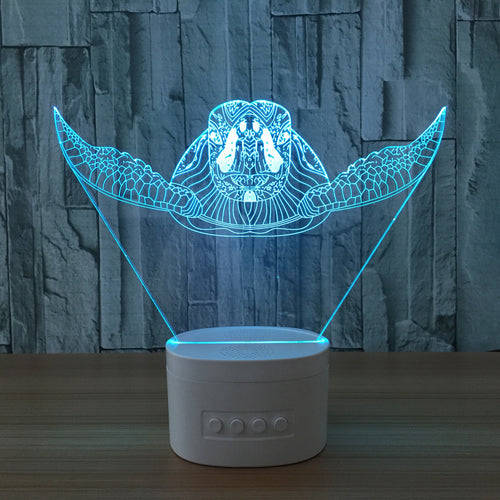 Sea Turtle 3D Speaker Lamp Noverlty Cute Bluetooth Speaker Usb Music Night Light Color Changeable Lampara Gift Luminaria Led