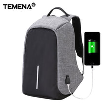 Temena Canvas Men Backpack Anti Theft With Usb Charger Laptop Business Unisex Knapsack Shoulder Waterproof Women Travel Bag