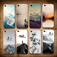 Landscape Scenery Case For Iphone 7 6 6S Plus Mountains Bamboo Sea Deer Cat Nature View Hard Back Case Cover For Iphone7 7plus