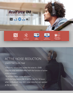 OVERDRIVE Active Noise Cancelling Wireless Bluetooth Headphones with microphone/NFC Headset and support Apt-X ANC Earphone