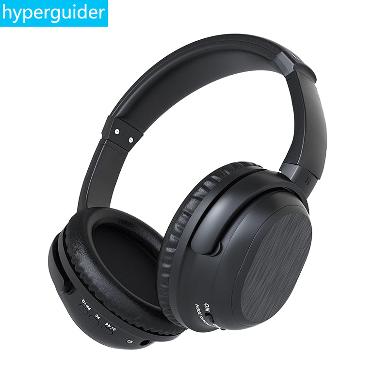 hyperguider ANC Wireless Headphone Headband 24DB Active Noise Cancelling Hi-Fi Stereo Bass Headset Bluetooth 4.0 3.5mm AUX