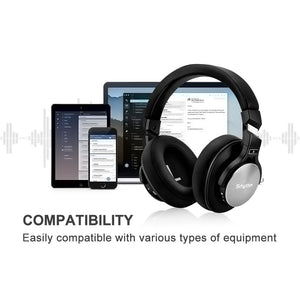 Bluetooth wireless Noise Cancelling Headphones deep Bass Stereo Over ear Earphones ANC Hifi  Foldable headset with microphone