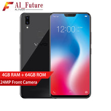 "Global Version VIVO V9 Mobile phone  Snapdragon 626 Octa-core 4GB RAM 64GB ROM Full Scree 6.3"" Dual Rear Camera 4G LTE CellPhone"