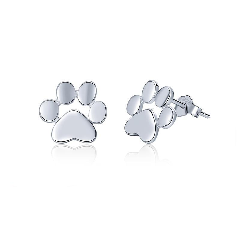 Cute Dog Paw Silver Earrings