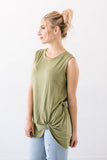 Sleeveless Knot Top in Olive