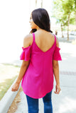 Ruffled Cold Shoulder Blouse In Hot Pink