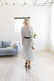 Sophisticated Stripe Midi Dress - ALL SALES FINAL