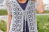 Artsy Crocheted Cardi In Gray
