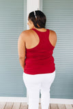 Basic Scoop Neck Tank In Crimson