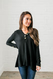 Bountiful Buttons V-Neck In Black