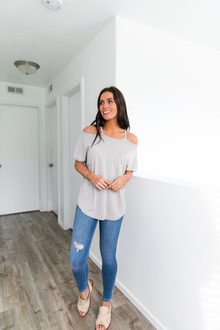 Cutting Edge Cold Shoulder Top In Taupe