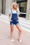 Daisy Denim Distressed Shortalls In Dark Wash