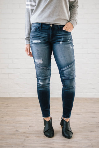 Distressed Moto Skinny Ankle Jean