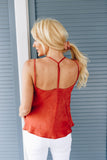 Draped Neck Satin Cami In Rust