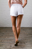 Frayed Hem White Denim Shorts