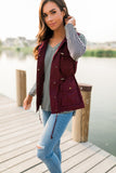 Hooded Camp Vest In Burgundy