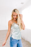 Ice Sage Crushed Velvet Lace Cami - ALL SALES FINAL