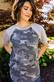 In The Trenches Camouflage Raglan Top