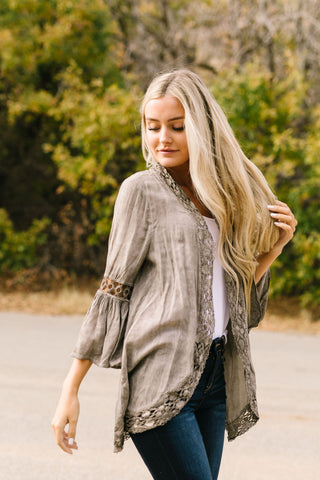 Kimberly Lace Trimmed Kimono In Olive - ALL SALES FINAL