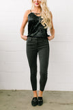 Las Velvet Strip Black Skinny Jeans - ALL SALES FINAL