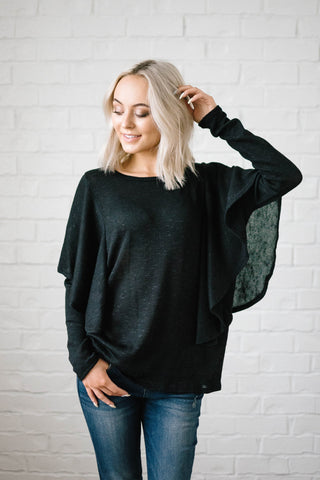 Midnight Ruffle Top in Black