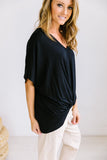 Modal Twist V-Neck In Black