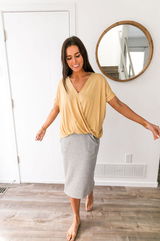 Pastel Draped V-Neck Top In Mango