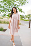 Pink Buttons + Lace Dress
