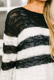 Rise To The Occasion Black + White Striped Sweater - ALL SALES FINAL