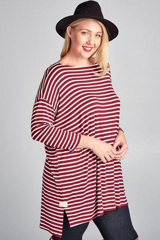 Steady She Goes Striped Top In Burgundy Plus Only