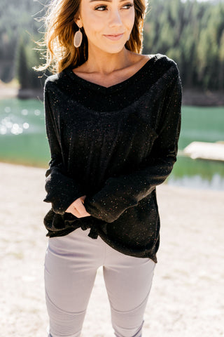Time To Unwind Tie Front Top In Black - ALL SALES FINAL