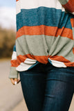 Totally Twisted Teal Striped Cowl Neck Top
