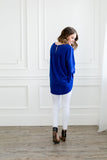 Trumpet Sleeve Blouse In Royal Blue