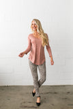 V-Neck Tee In Desert Blush - ALL SALES FINAL