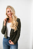 Zip It Faux Suede Jacket - ALL SALES FINAL