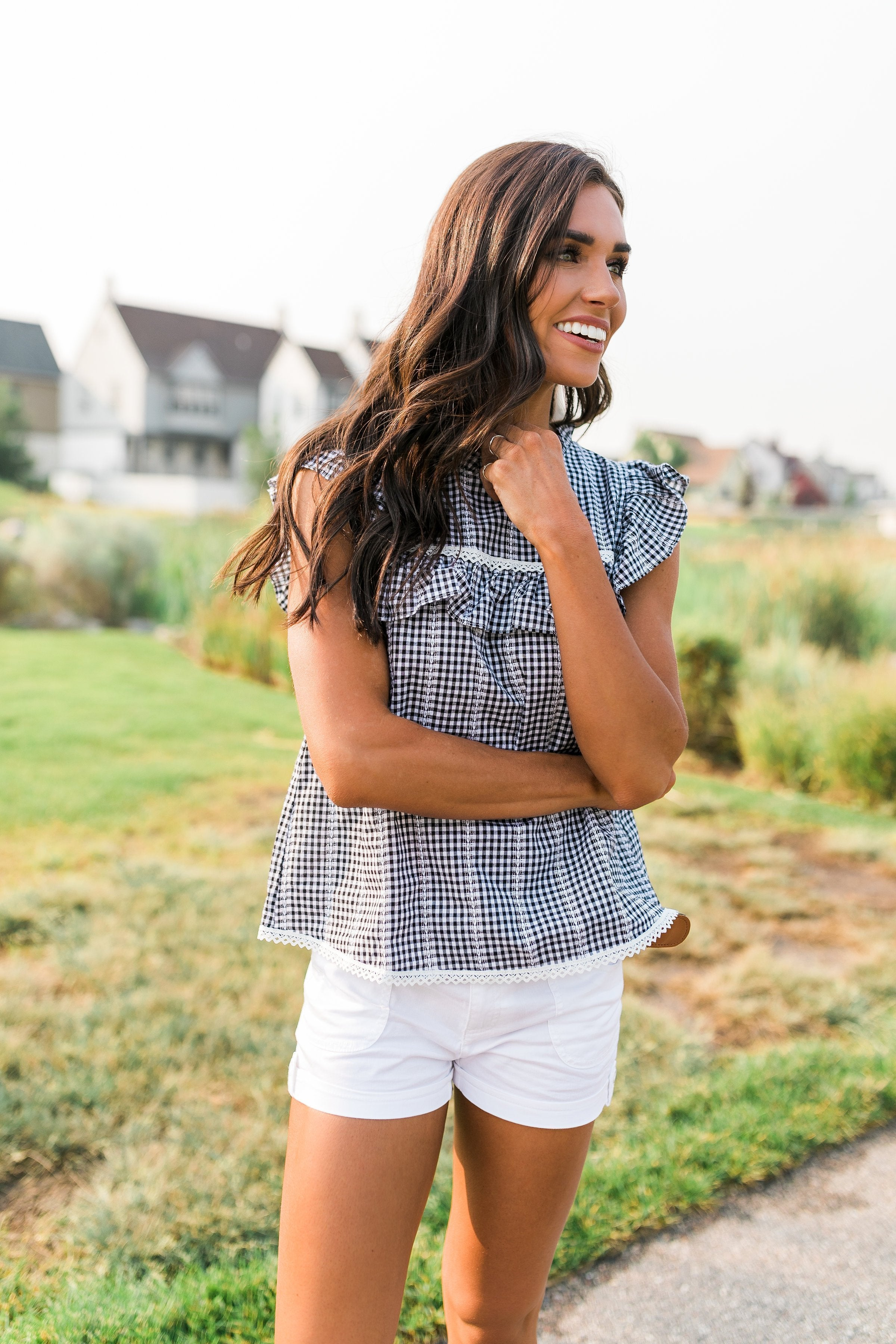 Black + White Gingham Top