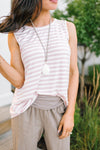 Blush + Ivory Striped Tank