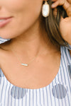 Brass + Stone Bar Necklace
